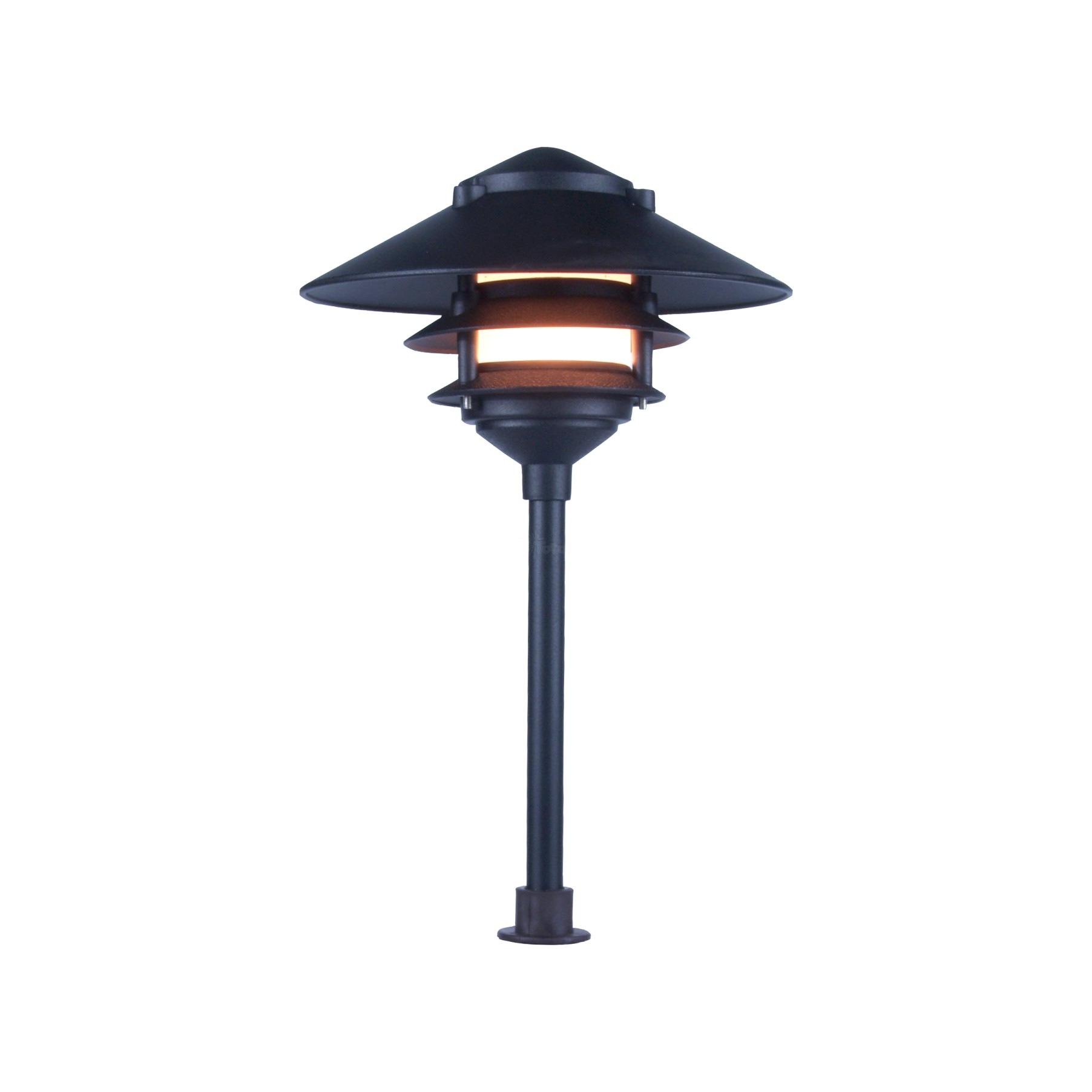 Landscape lighting low voltage clear lens wide brim pagoda path light