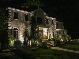 Outdoor LED Lights Two Story Brick Home